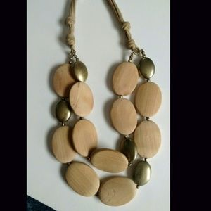 Oval Wooden Disc Multi-Row Necklace, Leather Strap